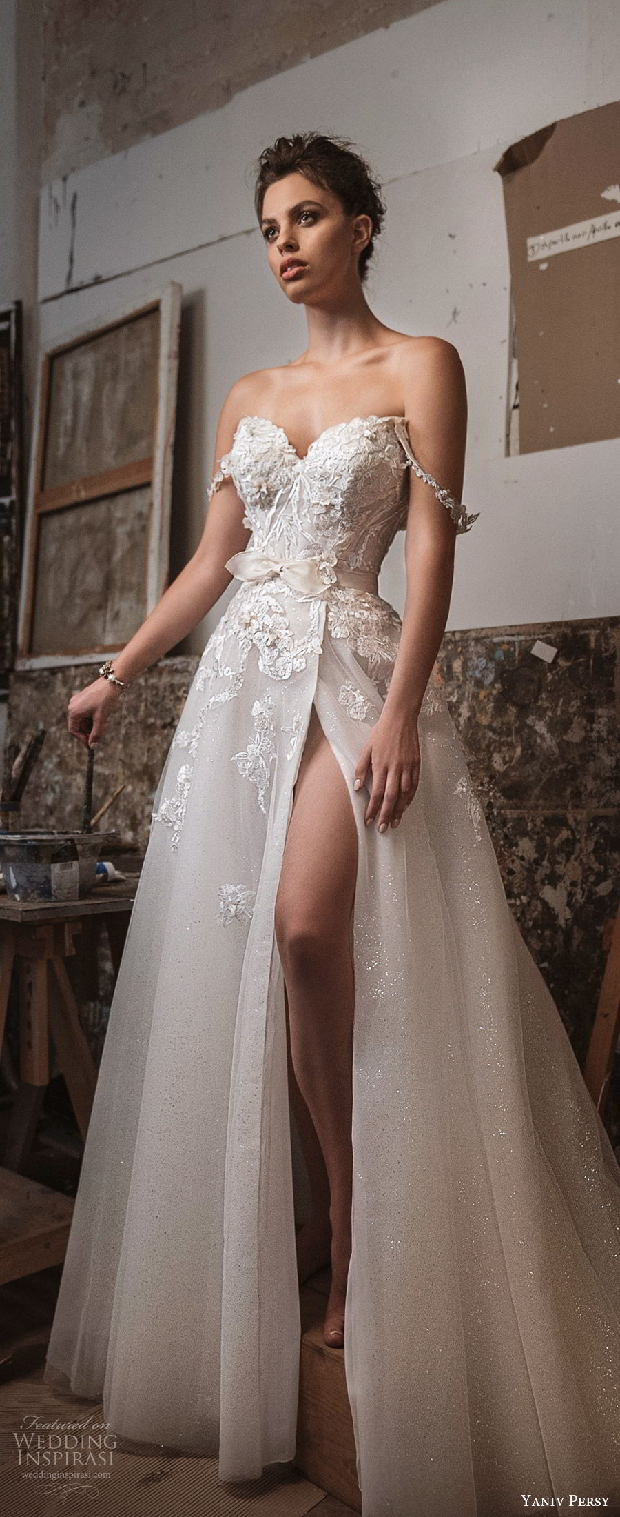 yaniv persy fall 2019 lavish bridal off shoulder sweetheart embellished bodice a line wedding dress high slit skirt romantic sexy glam (1) zv