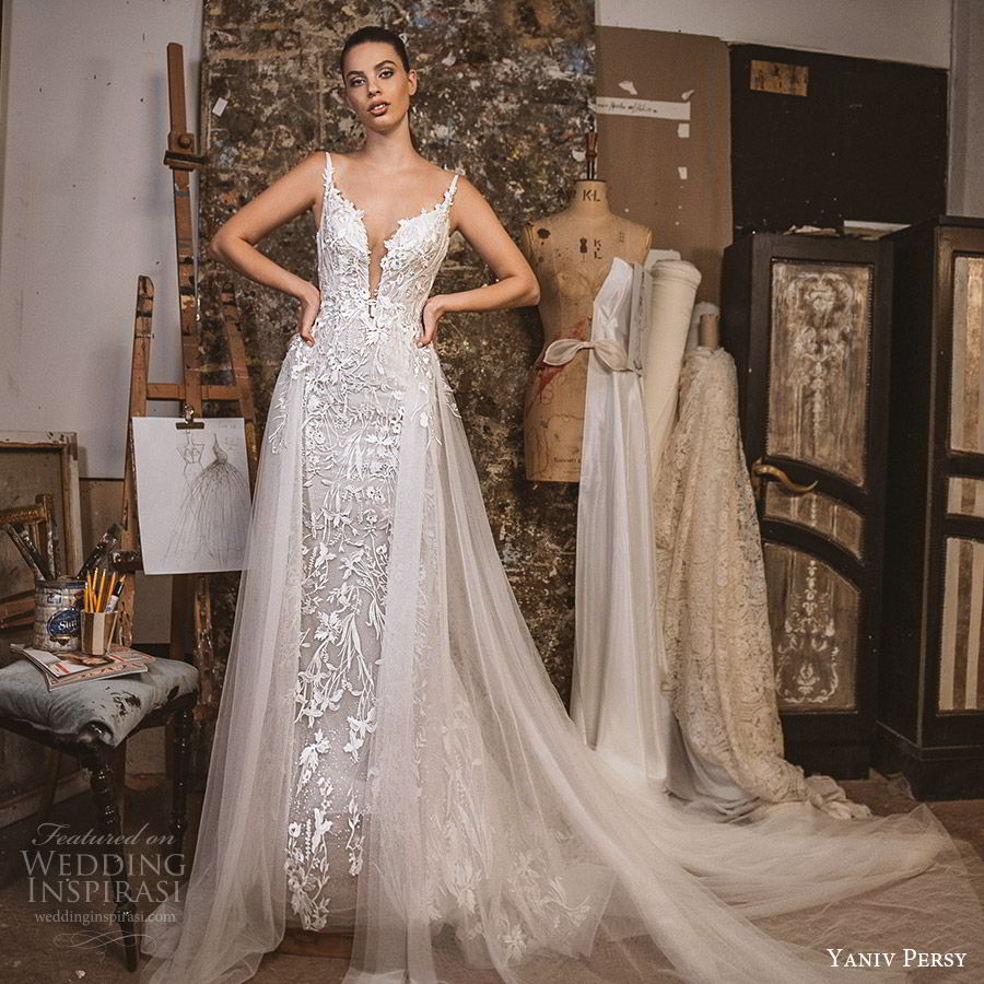 yaniv persy fall 2019 lavish bridal sleeveless embellished straps plunging split sweetheart neckline lace sheath wedding dress a line tulle overksirt romantic (11) mv