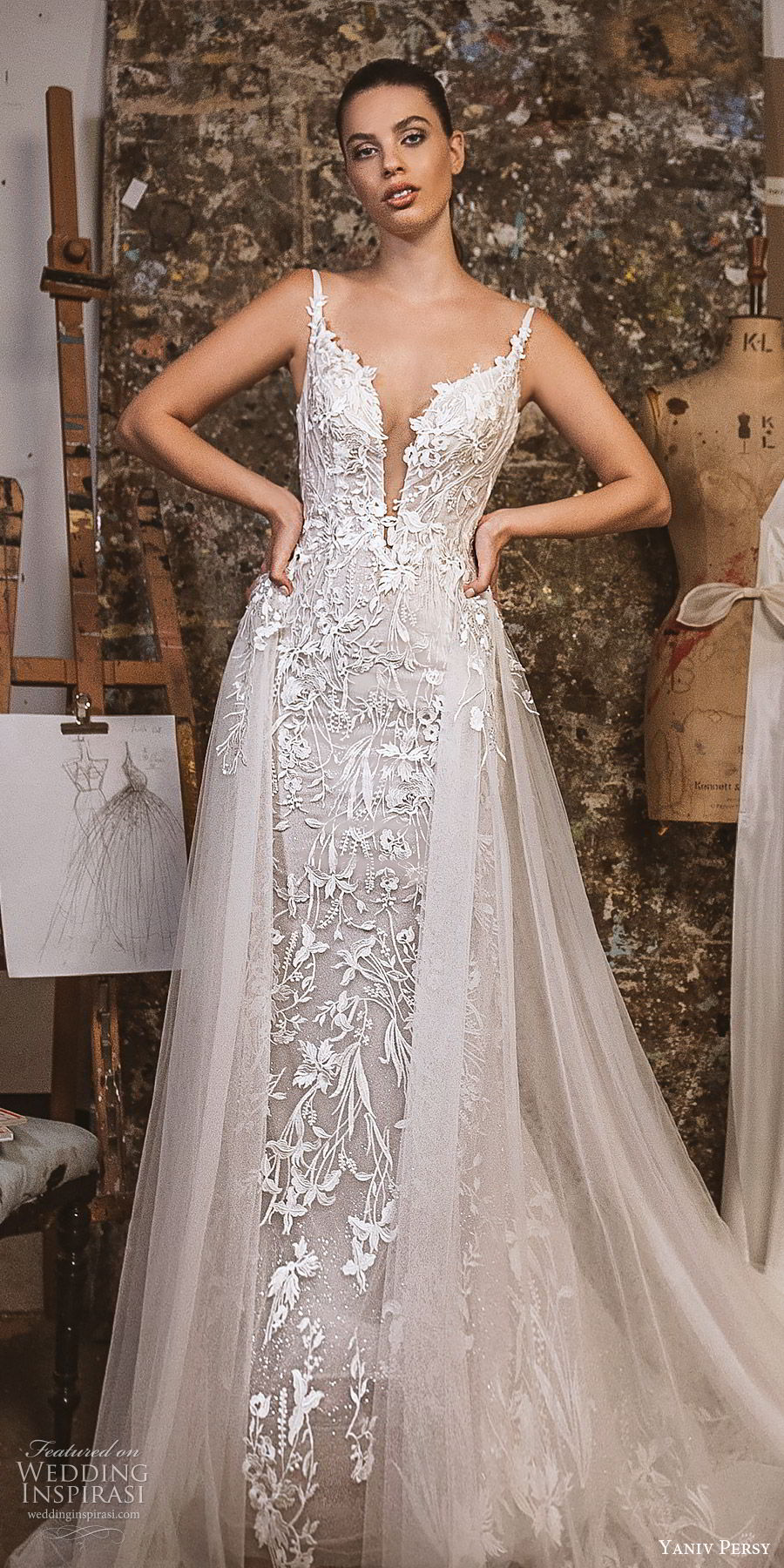 yaniv persy fall 2019 lavish bridal sleeveless embellished straps plunging split sweetheart neckline lace sheath wedding dress a line tulle overksirt romantic (11) zv