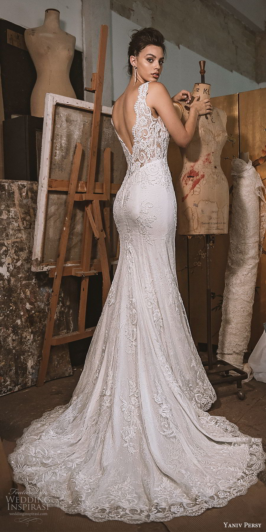yaniv persy fall 2019 lavish bridal sleeveless thick straps plunging v neck fully embellished sheath wedding dress v back chapel train sexy elegant (7) bv