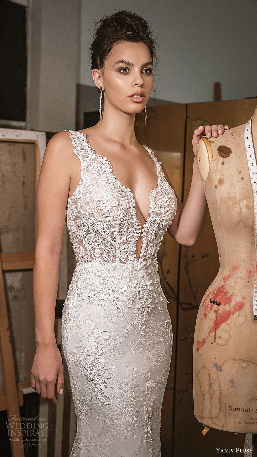 yaniv persy fall 2019 lavish bridal sleeveless thick straps plunging v neck fully embellished sheath wedding dress v back chapel train sexy elegant (7) zv