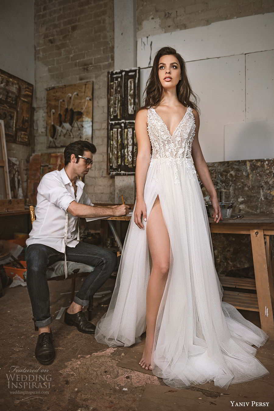 yaniv persy fall 2019 lavish bridal sleeveless thick straps v neck embellished lace bodice a line wedding dress slit skirt romantic sexy (4) mv