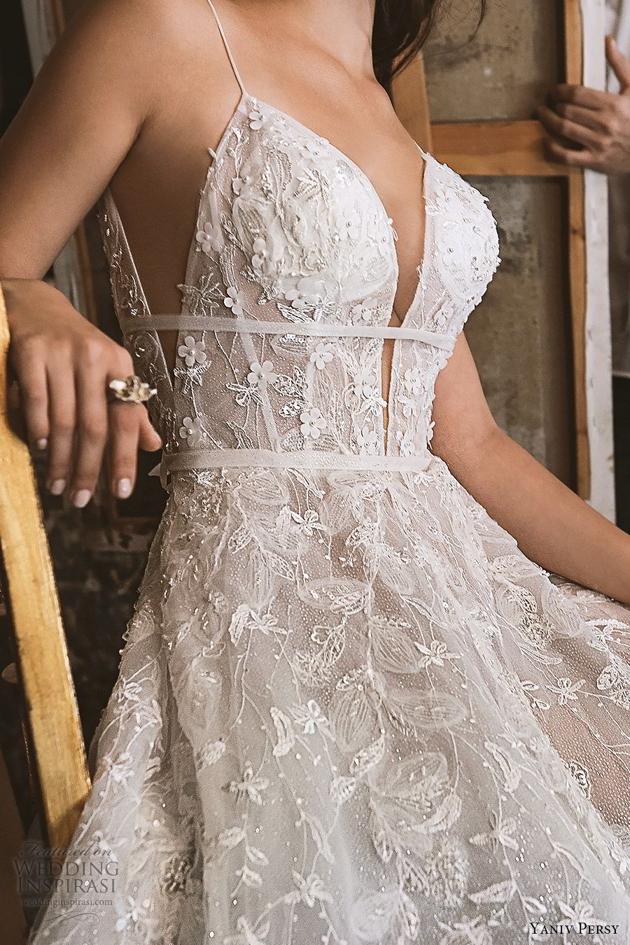 yaniv persy fall 2019 lavish bridal sleeveless thin straps plunging sweetheart neckline embellished a line ball gown wedding dress open back sexy glitzy romantic (5) zv