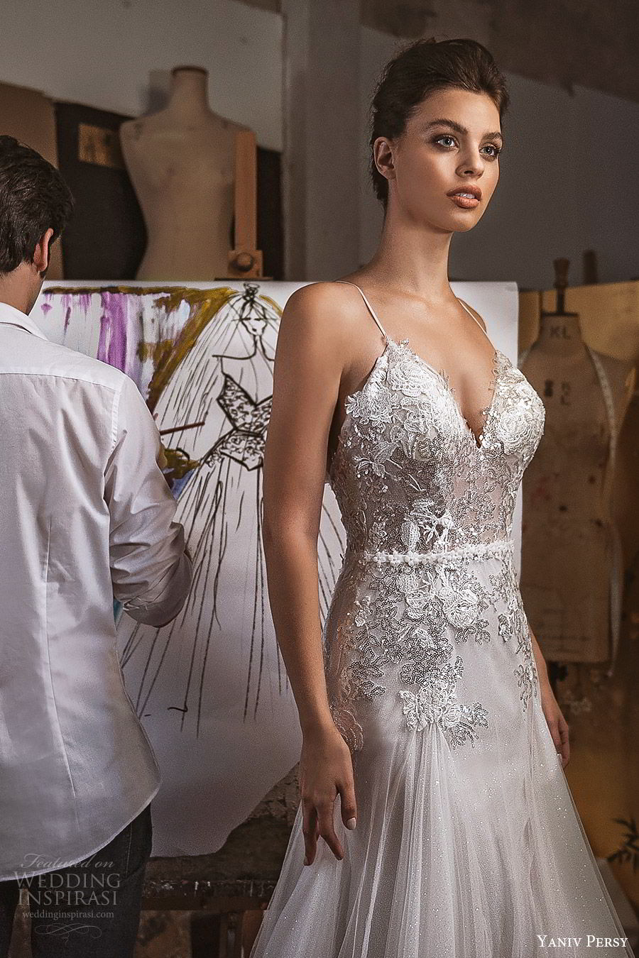yaniv persy fall 2019 lavish bridal sleeveless thin straps sweetheart heavily embellished fit flare a line wedding dress glitzy elegant glam (8) mv