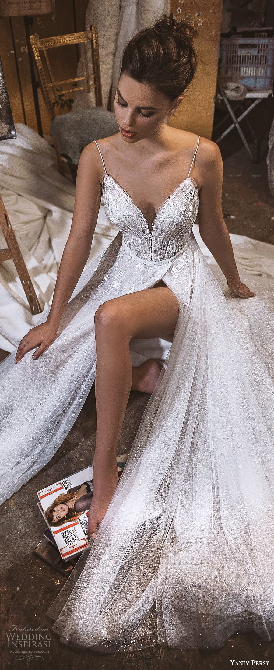 yaniv persy fall 2019 lavish bridal sleevless thin straps sweetheart neckline beaded bodice a line wedding dress slit skirt romantic sexy glitzy (3) lv