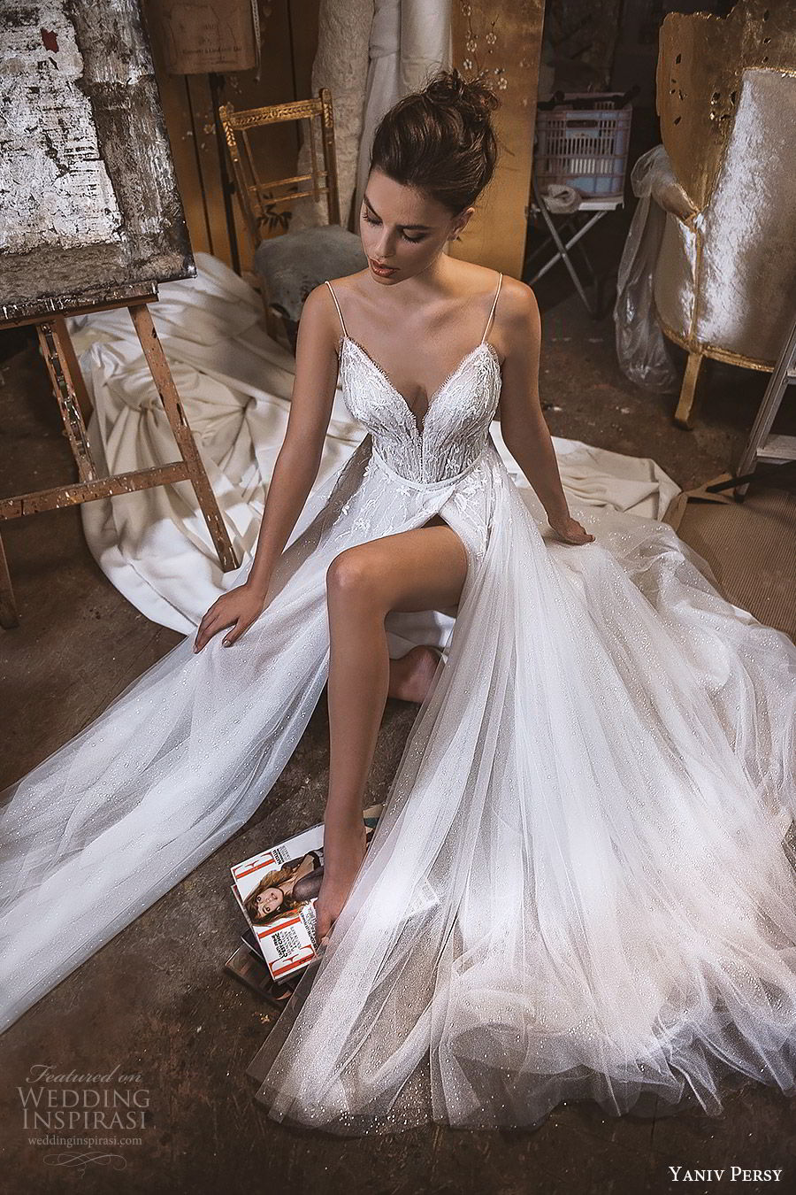 yaniv persy fall 2019 lavish bridal sleevless thin straps sweetheart neckline beaded bodice a line wedding dress slit skirt romantic sexy glitzy (3) mv