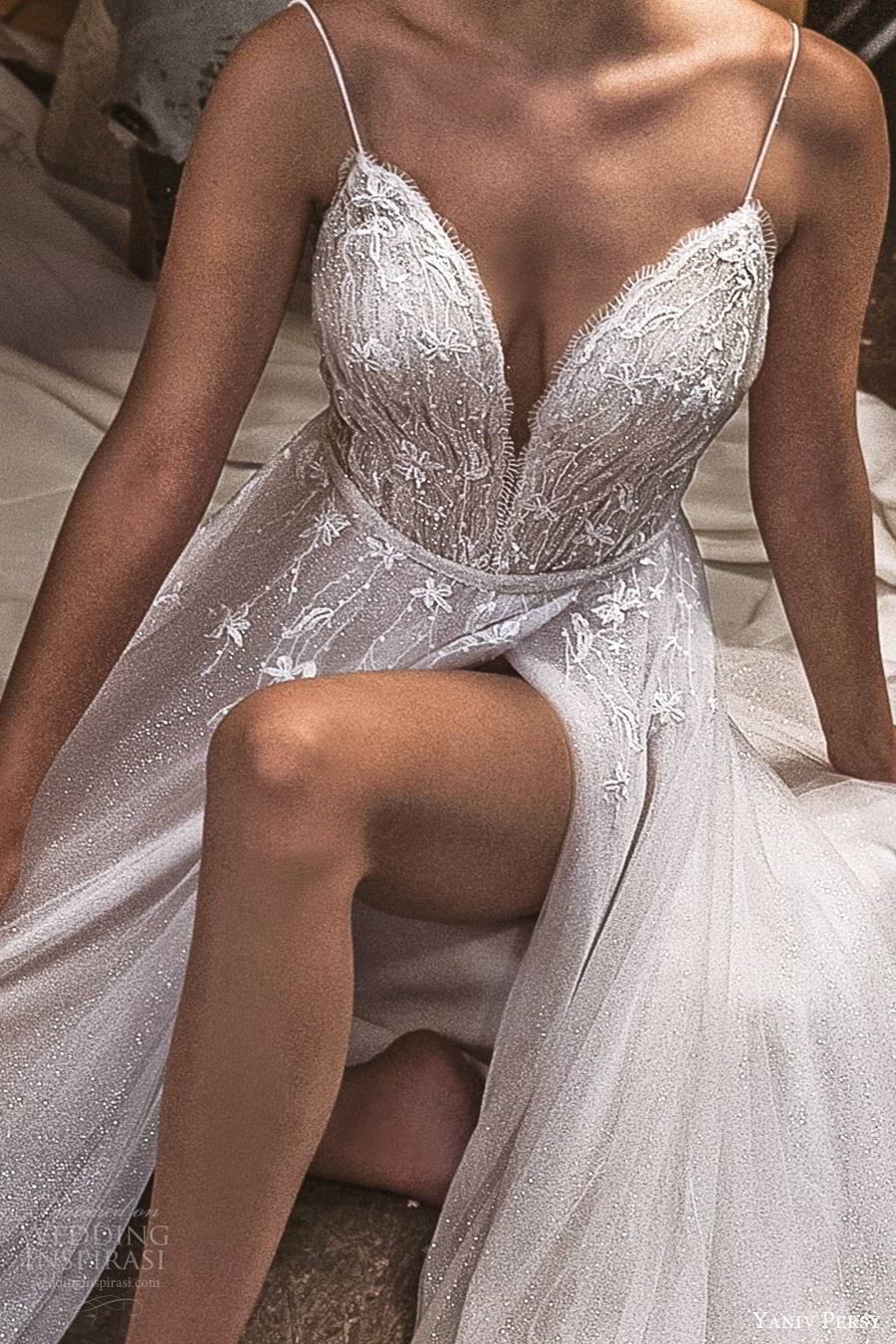 yaniv persy fall 2019 lavish bridal sleevless thin straps sweetheart neckline beaded bodice a line wedding dress slit skirt romantic sexy glitzy (3) zv