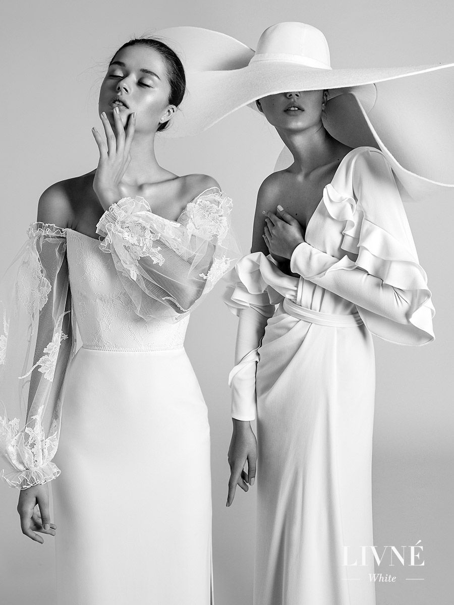 alon livne white fall 2019 bridal iconic modern wedding dresses rita isabella hat