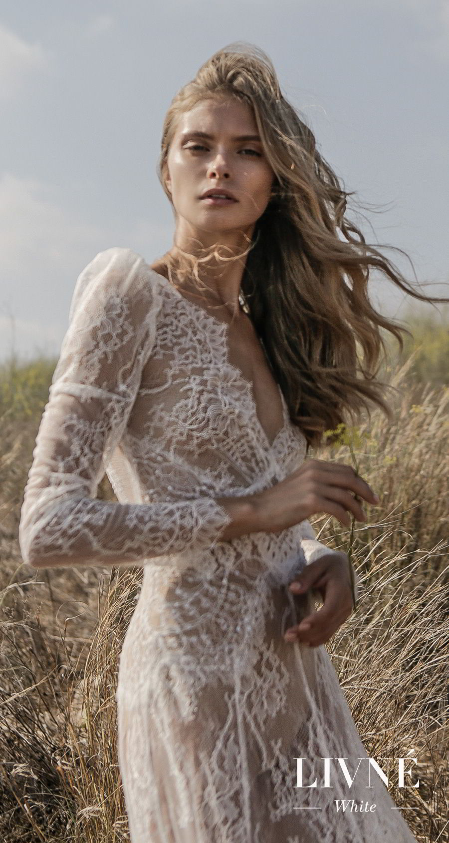 alon livne white fall 2019 bridal long sleeves deep v neck full embellishment vintage elegant mofified a  line wedding dress (sonique) lv