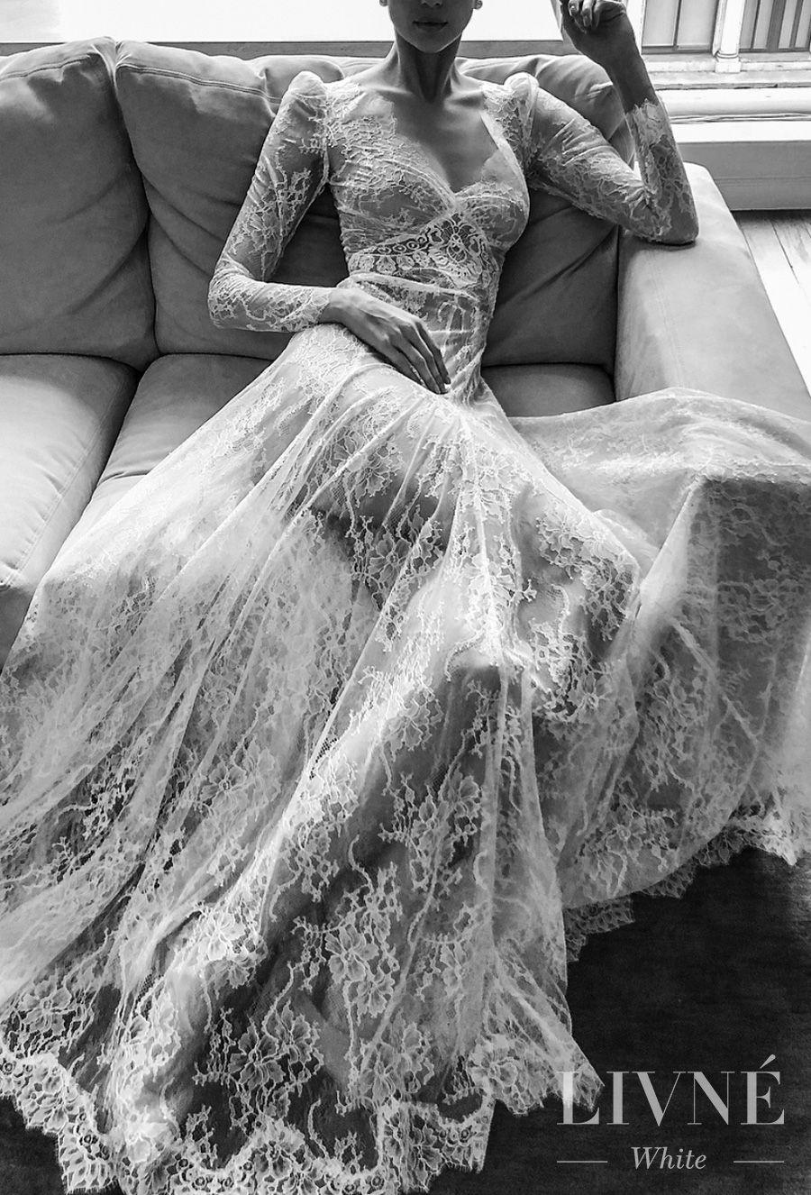 alon livne white fall 2019 bridal long sleeves deep v neck full embellishment vintage elegant mofified a  line wedding dress (sonique) mv