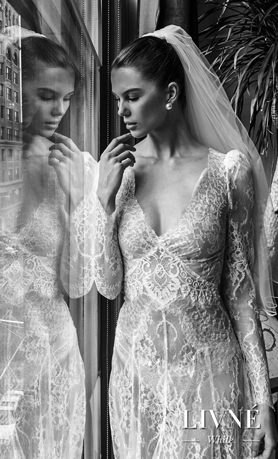 alon livne white fall 2019 bridal long sleeves deep v neck full embellishment vintage elegant mofified a  line wedding dress (sonique) mv zv