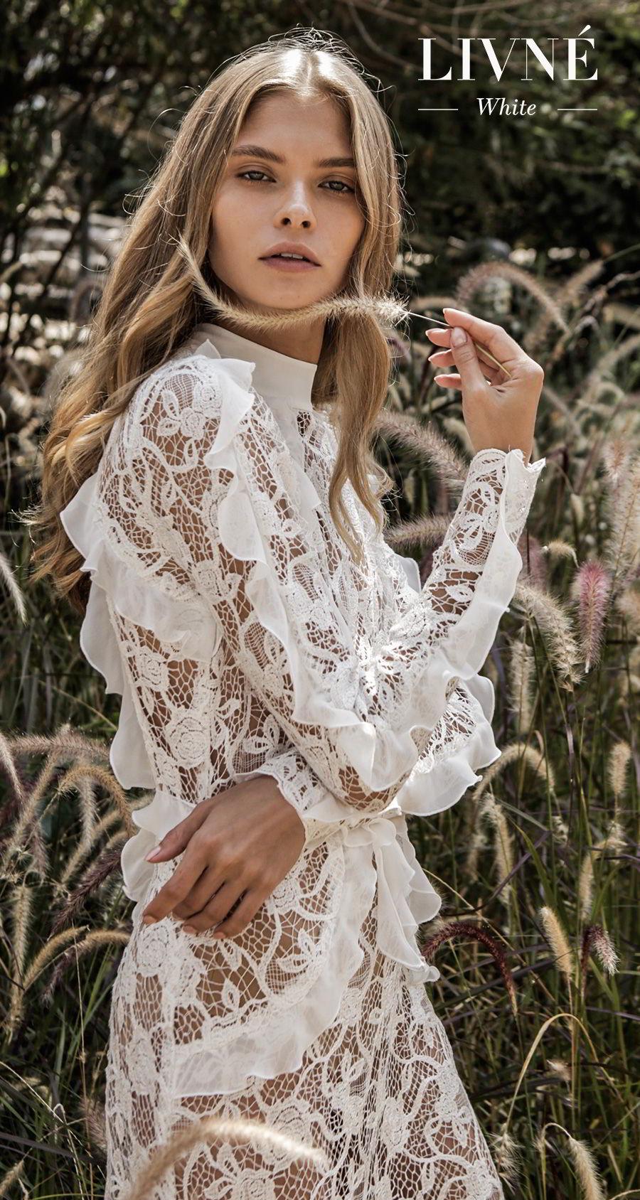 alon livne white fall 2019 bridal long sleeves high neck full embellishment elegant modest vintage sheath modified a  line wedding dress (natasha) zv