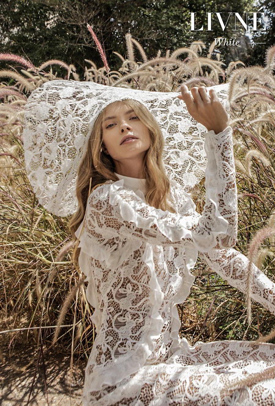 alon livne white fall 2019 bridal long sleeves high neck full embellishment elegant modest vintage sheath wedding dress (natasha) zv
