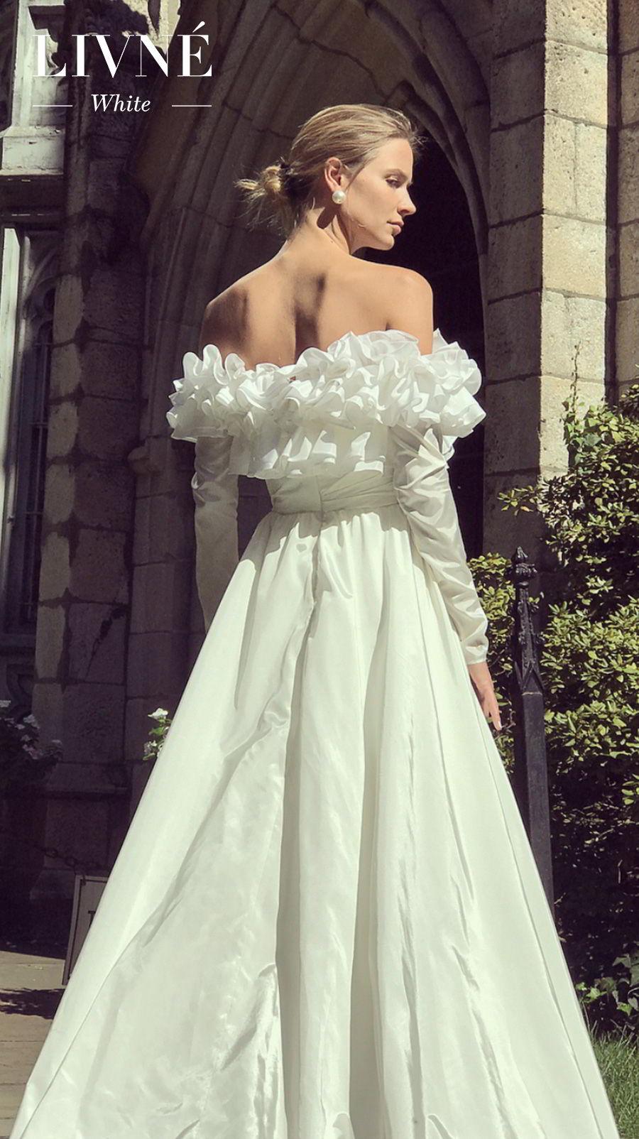 alon livne white fall 2019 bridal off the shoulder long sleeves a  line wedding dress (jessa) mv