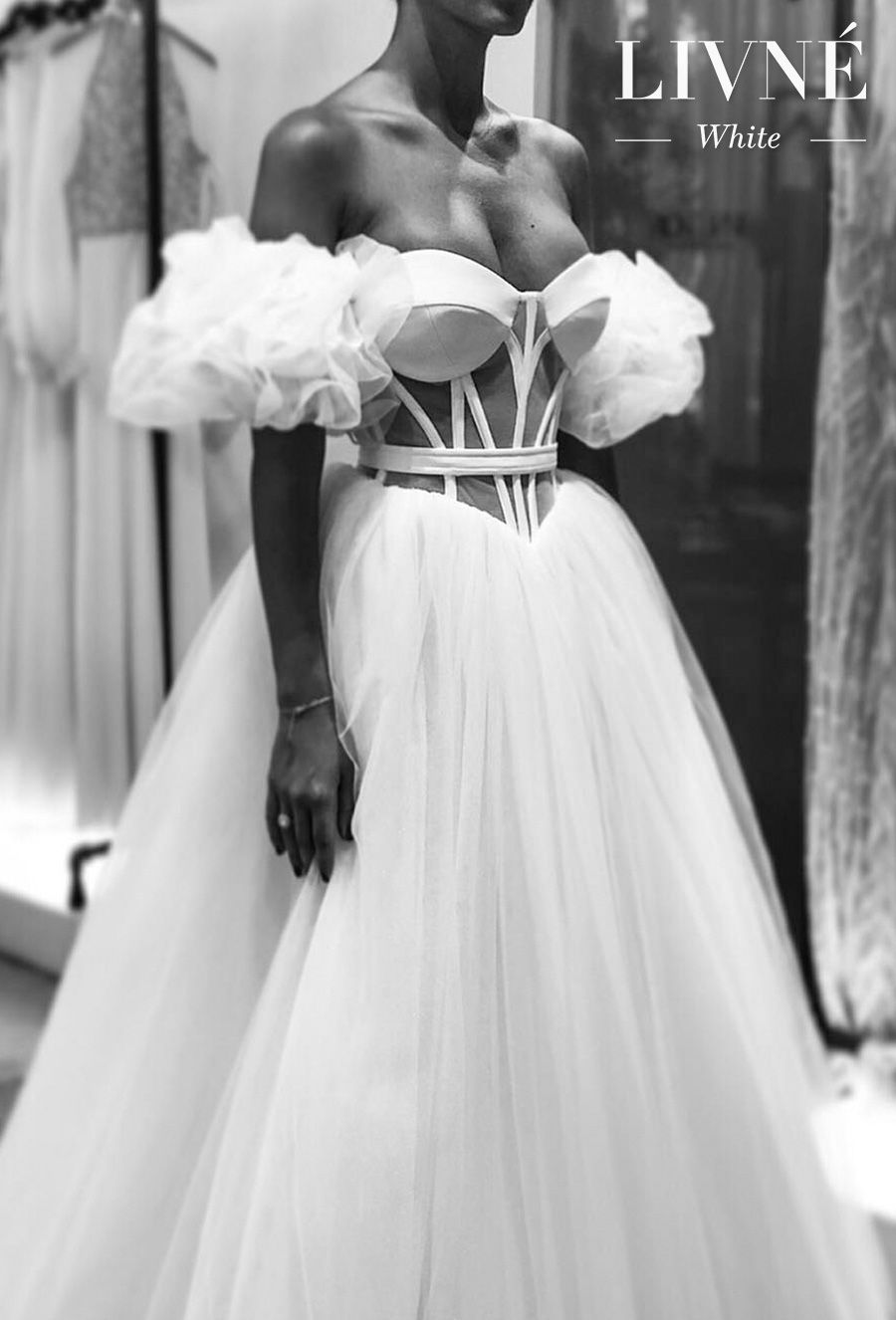 alon livne white fall 2019 bridal off the shoulder sweetheart neckline bustier sophiscated modern ball gown a  line wedding dress (9) mv