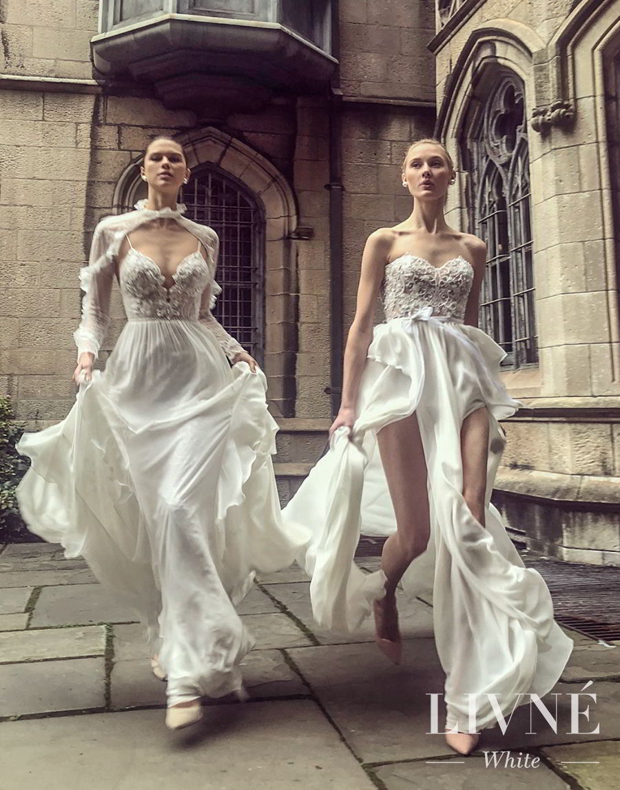 alon livne white fall 2019 bridal romantic wedding gowns wedding dresses bridal collection from left tiffany and florette