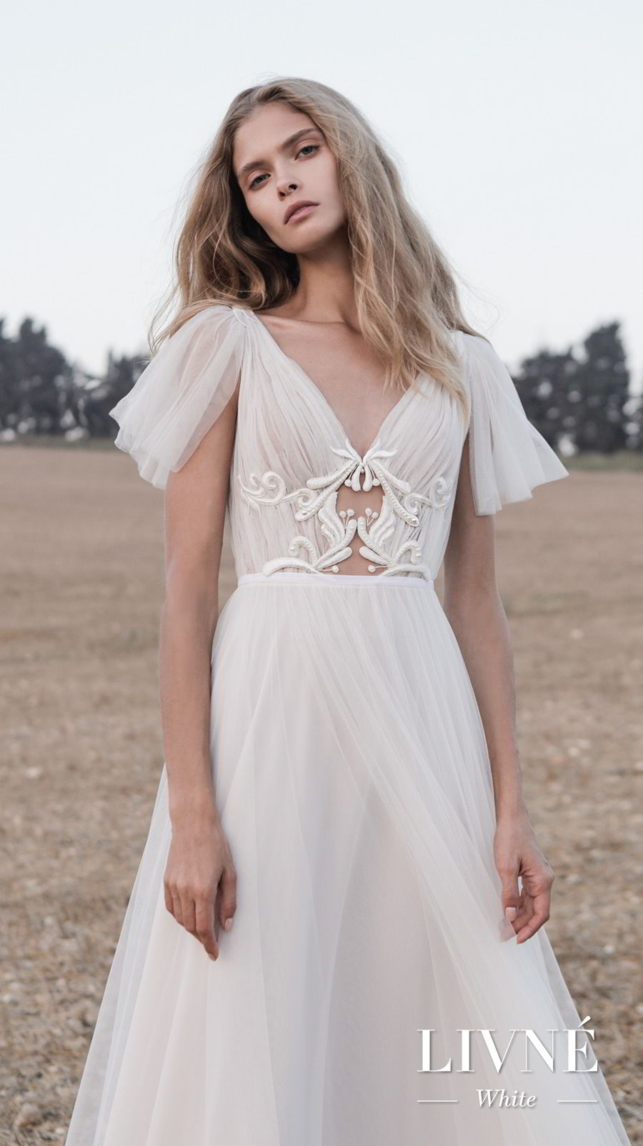 alon livne white fall 2019 bridal short handkerchief sleeves v neck ruched bodice romantic a  line wedding dress (shane) mv fv