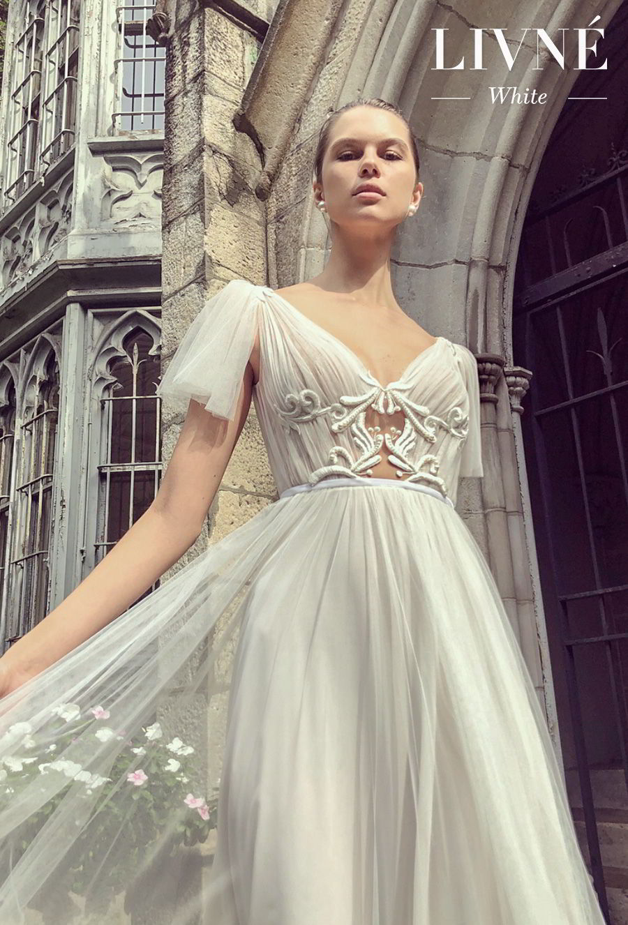 alon livne white fall 2019 bridal short handkerchief sleeves v neck ruched bodice romantic a  line wedding dress (shane) mv zv