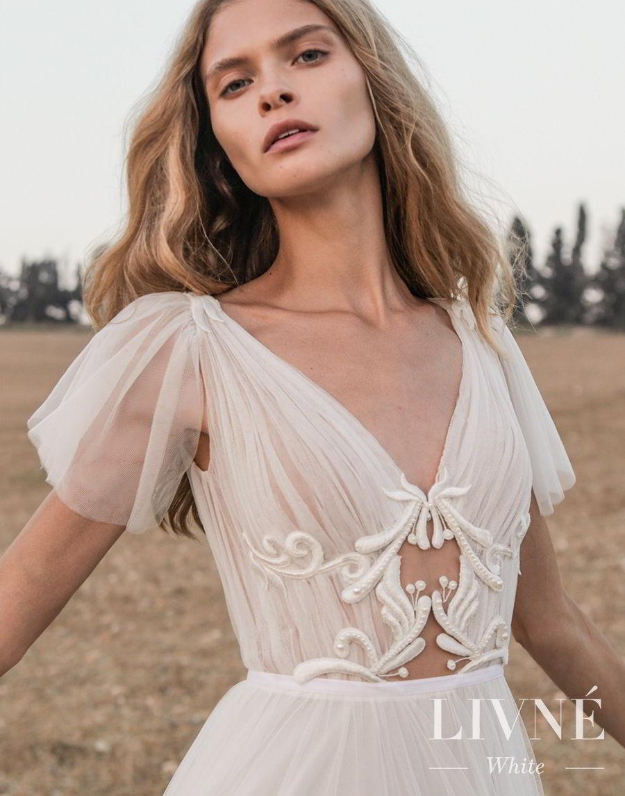alon livne white fall 2019 bridal short handkerchief sleeves v neck ruched bodice romantic a  line wedding dress (shane) zv