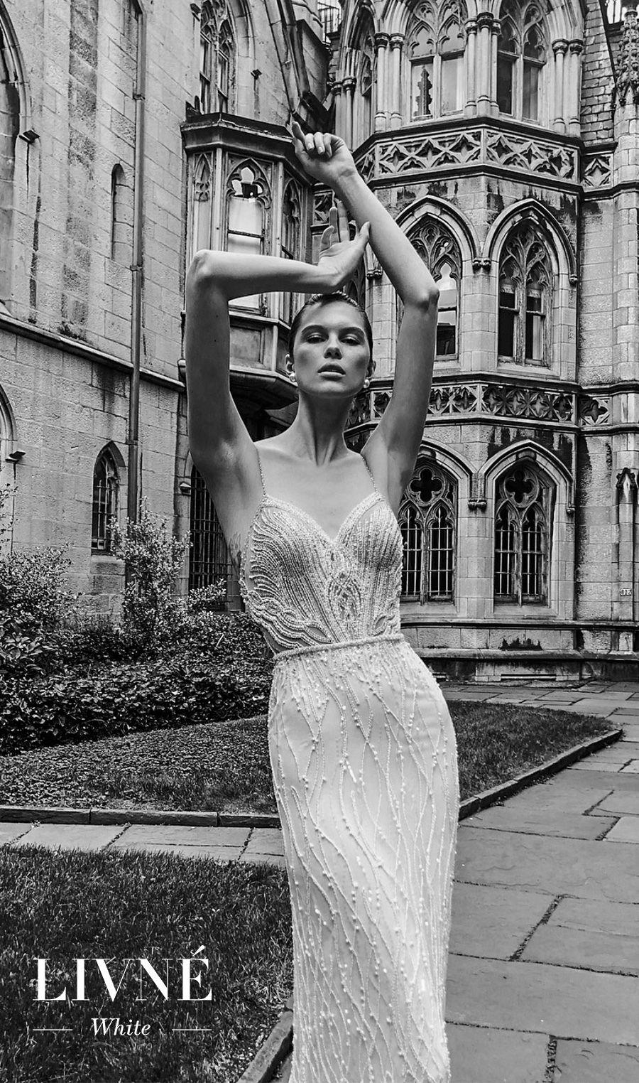 alon livne white fall 2019 bridal spaghetti strap diamond sweetheart neckline full embellishment glitzy elegant glamorous sheath wedding dress (estelle) mv