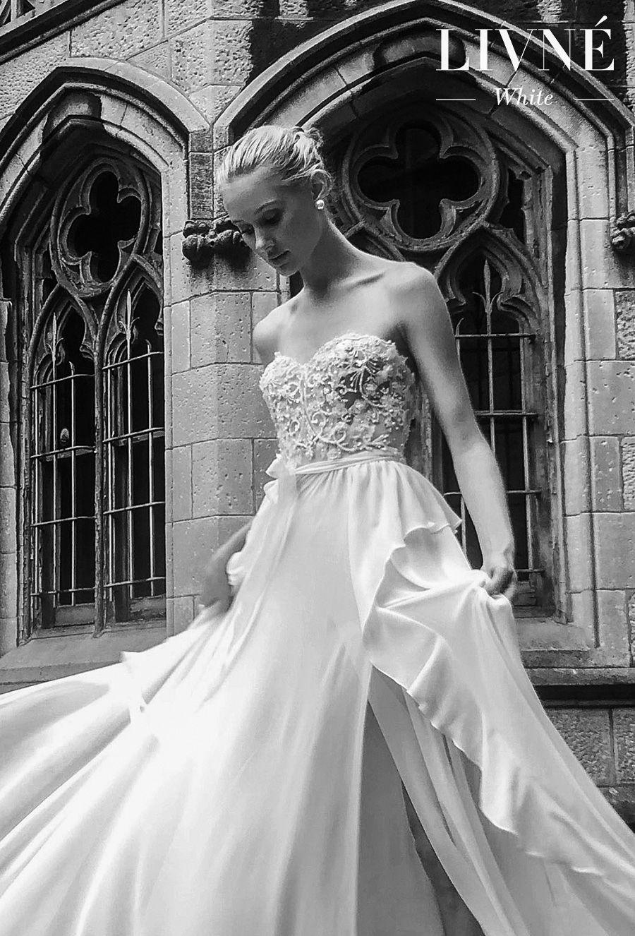 alon livne white fall 2019 bridal strapless sweetheart neckline heavily embellished bodice romantic a  line wedding dress (florette) mv