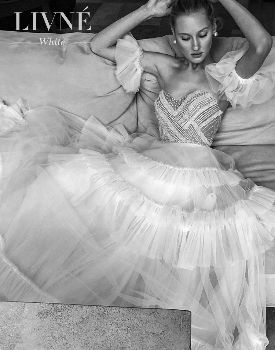 alon livne white fall 2019 bridal strapless sweetheart neckline heavily embellished bodice tiered skirt romantic a  line wedding dress (felicity) mv