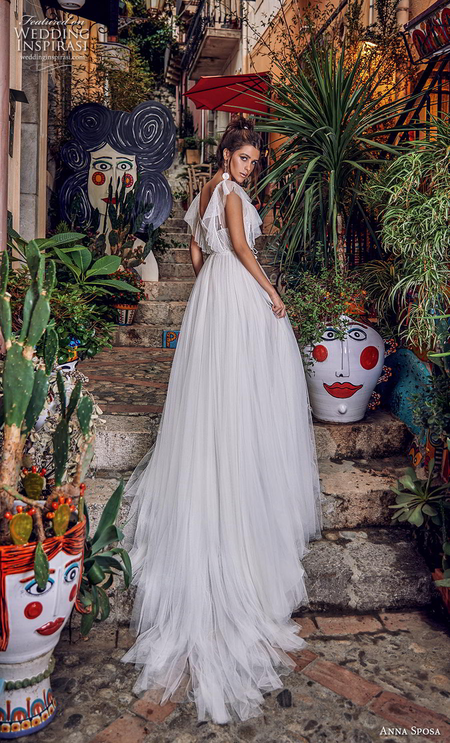 anna sposa 2019 bridal butterfly sleeves illusion boat  v neck heavily embellished bodice tulle skirt romantic a  line wedding dress backless chapel train (12) bv