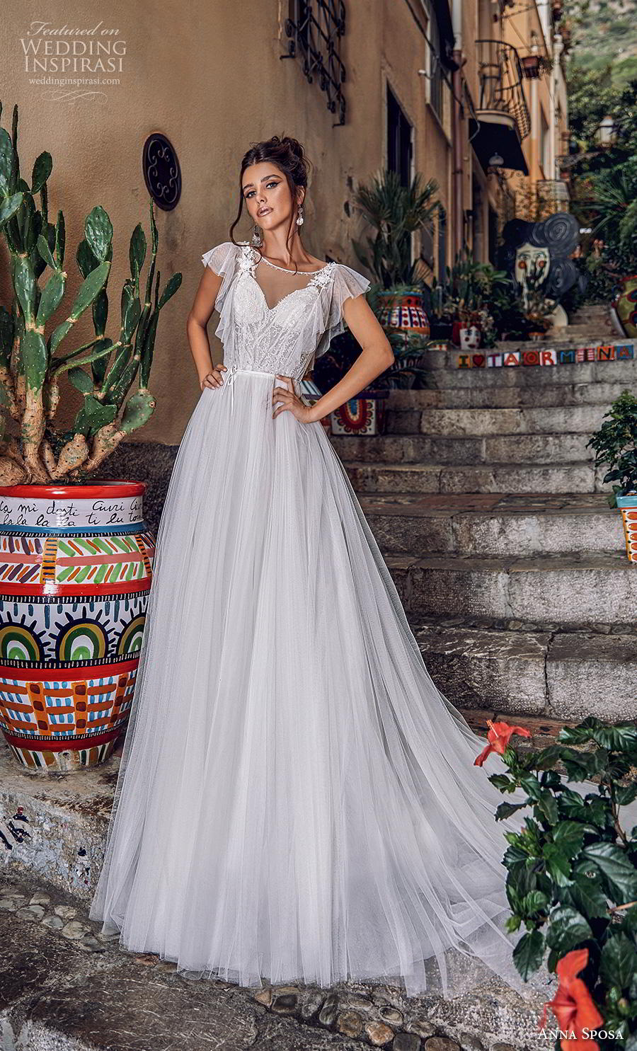 anna sposa 2019 bridal butterfly sleeves illusion boat  v neck heavily embellished bodice tulle skirt romantic a  line wedding dress backless chapel train (12) mv