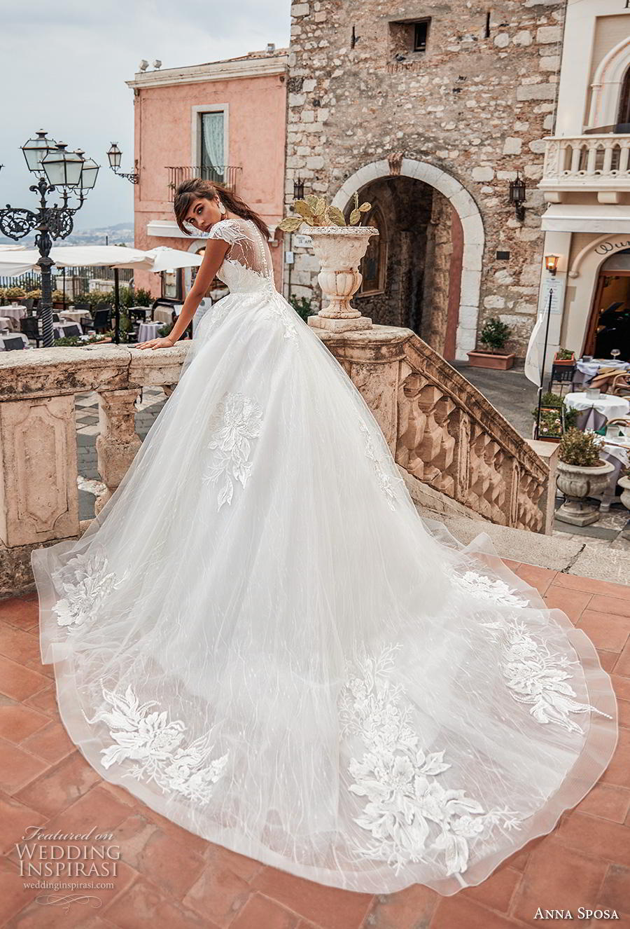 anna sposa 2019 bridal cap sleeves illusion bateau deep plunging sweetheart neckline heavily embellished bodice romantic ball gown a  line wedding dress sheer button back royal train (6) bv