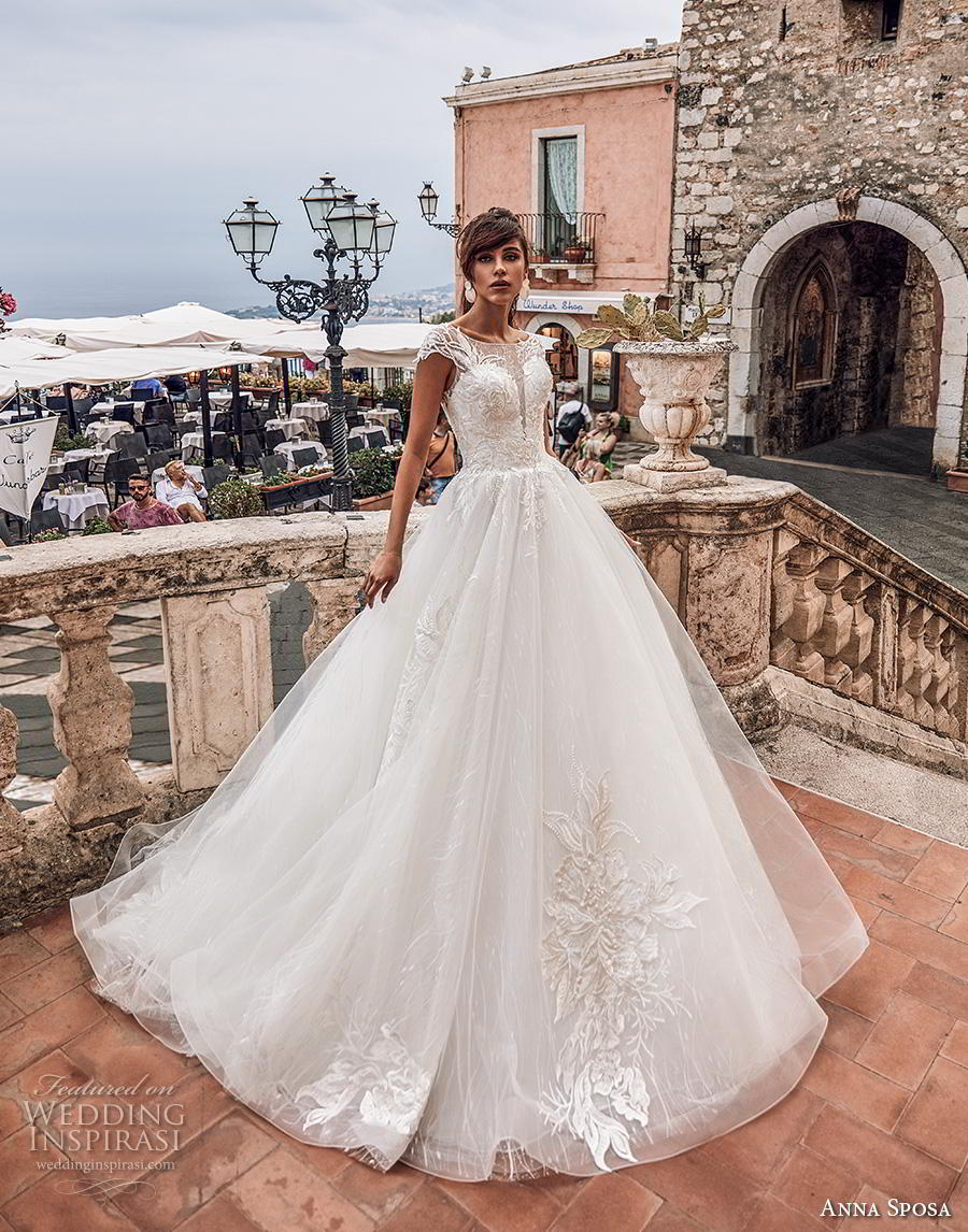anna sposa 2019 bridal cap sleeves illusion bateau deep plunging sweetheart neckline heavily embellished bodice romantic ball gown a  line wedding dress sheer button back royal train (6) mv