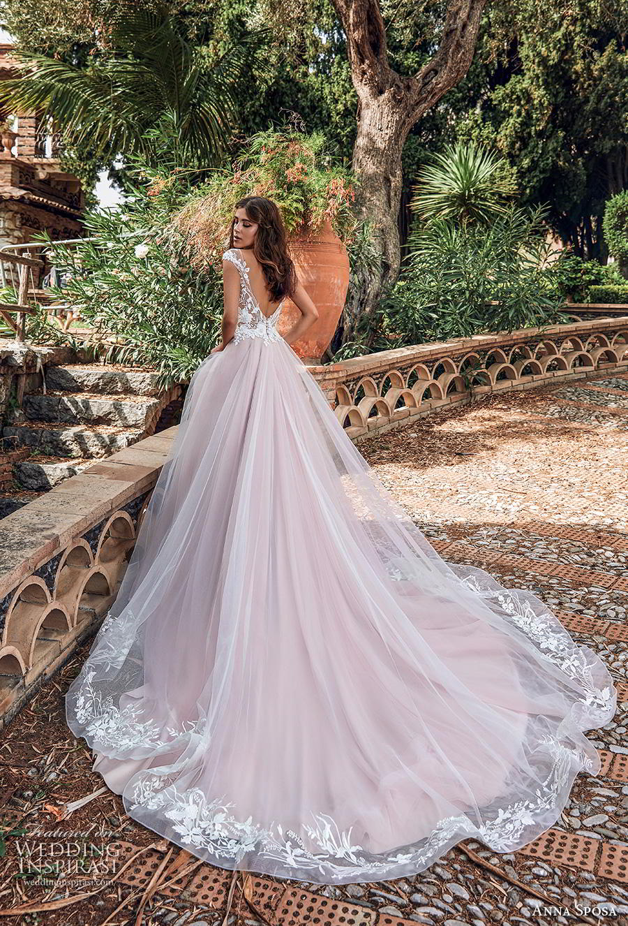 anna sposa 2019 bridal cap sleeves illusion bateau neckline heavily embellished bodice romantic pink blush a  line wedding dress backless v back chapel train (5) bv