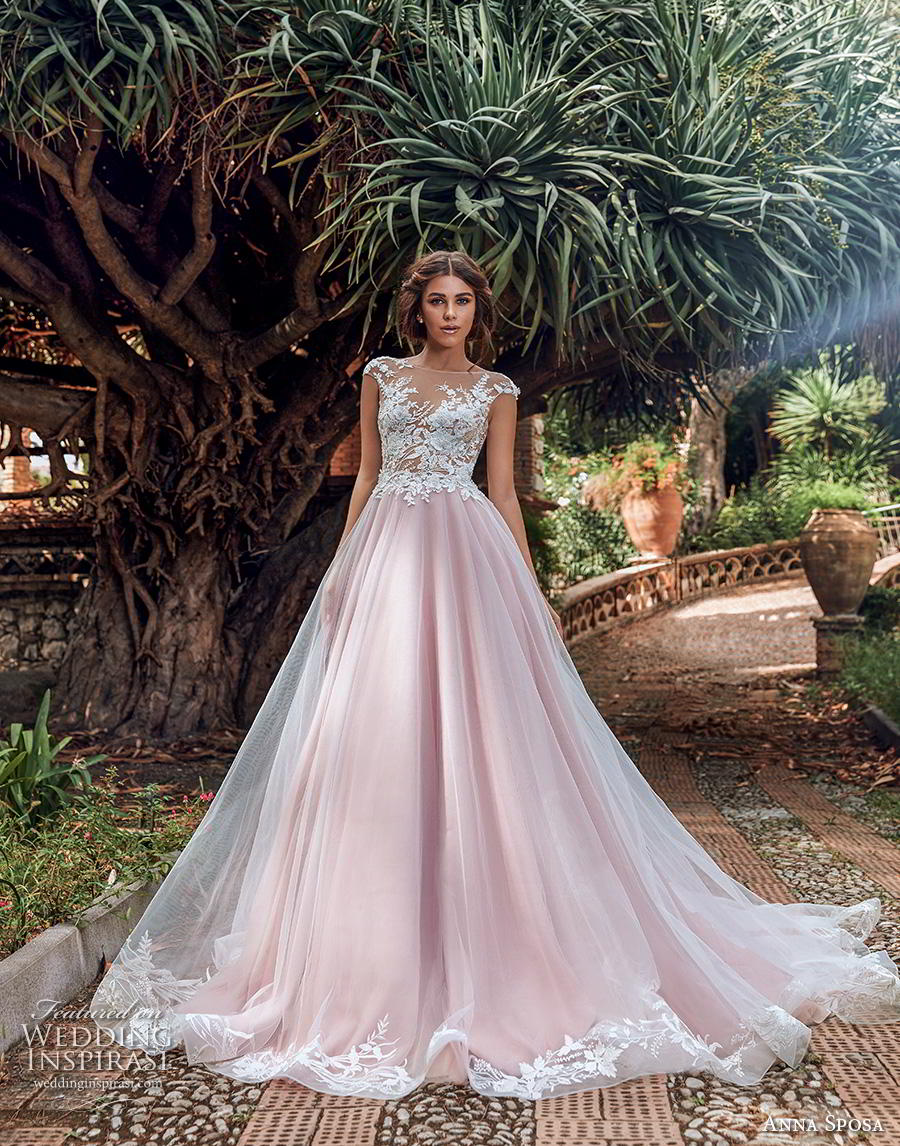 anna sposa 2019 bridal cap sleeves illusion bateau neckline heavily embellished bodice romantic pink blush a  line wedding dress backless v back chapel train (5) mv