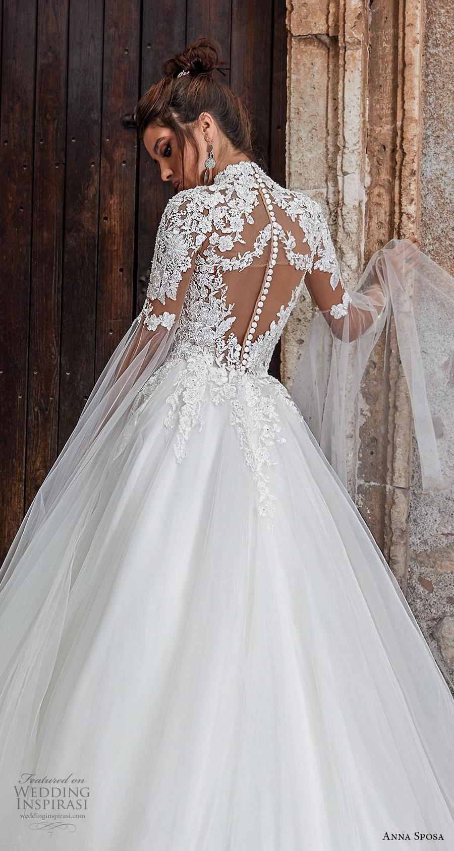 anna sposa 2019 bridal half sleeves high neck deep plunging sweetheart neckline heavily embellished bodice princess ball gown a  line wedding dress keyhole button back royal train (10) zbv