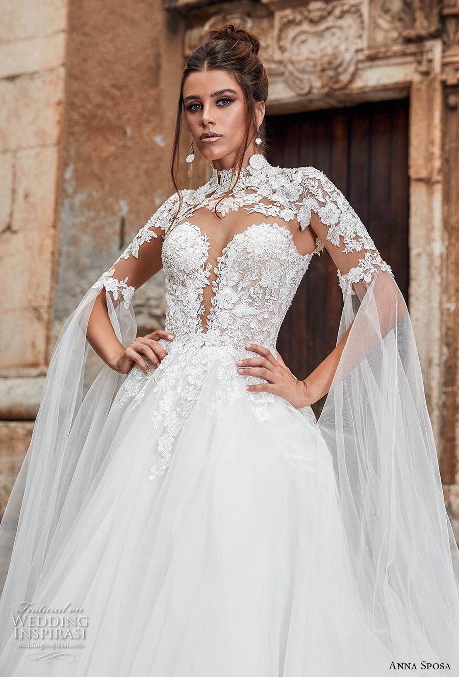 anna sposa 2019 bridal half sleeves high neck deep plunging sweetheart neckline heavily embellished bodice princess ball gown a  line wedding dress keyhole button back royal train (10) zv