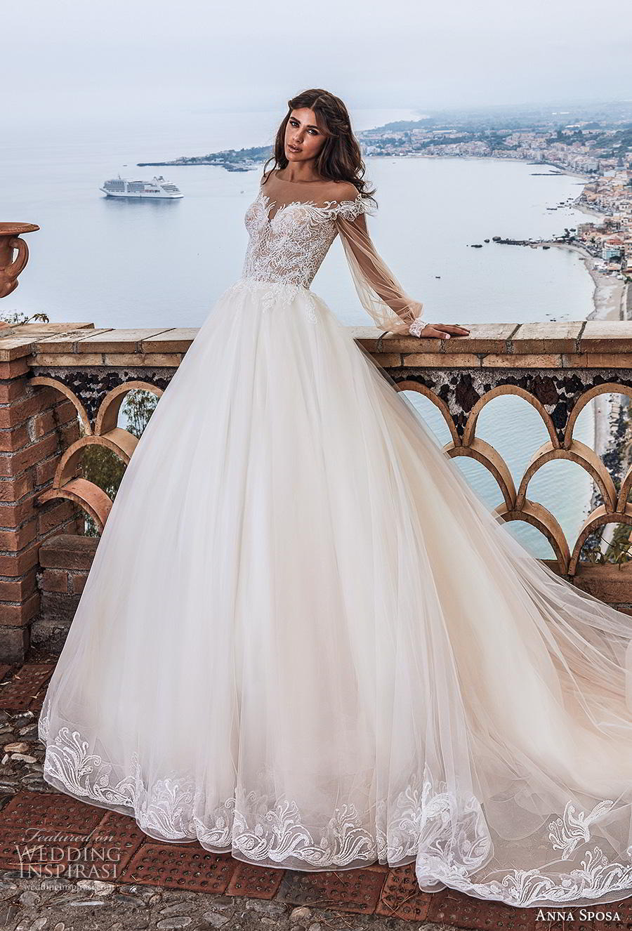 anna sposa 2019 bridal long bishop sleeves illusion bateau sweetheart neckline heavily embellished bodice romantic princess a  line wedding dress sheer button back royal train (15) mv