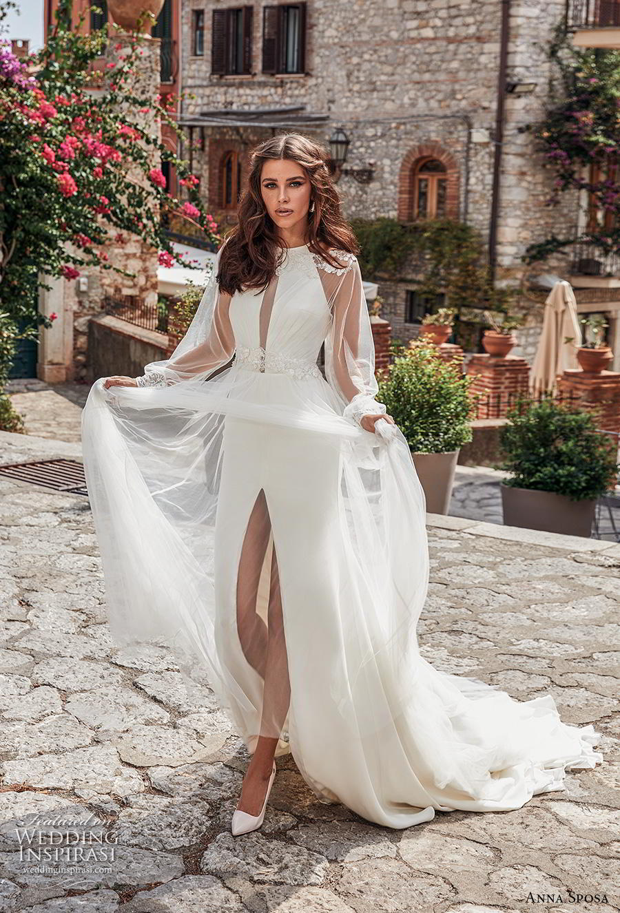 anna sposa 2019 bridal long bishop sleeves illusion jewel halter neck simple slit skirt sheath wedding dress a  line overskirt keyhole bodice chapel train (18) mv
