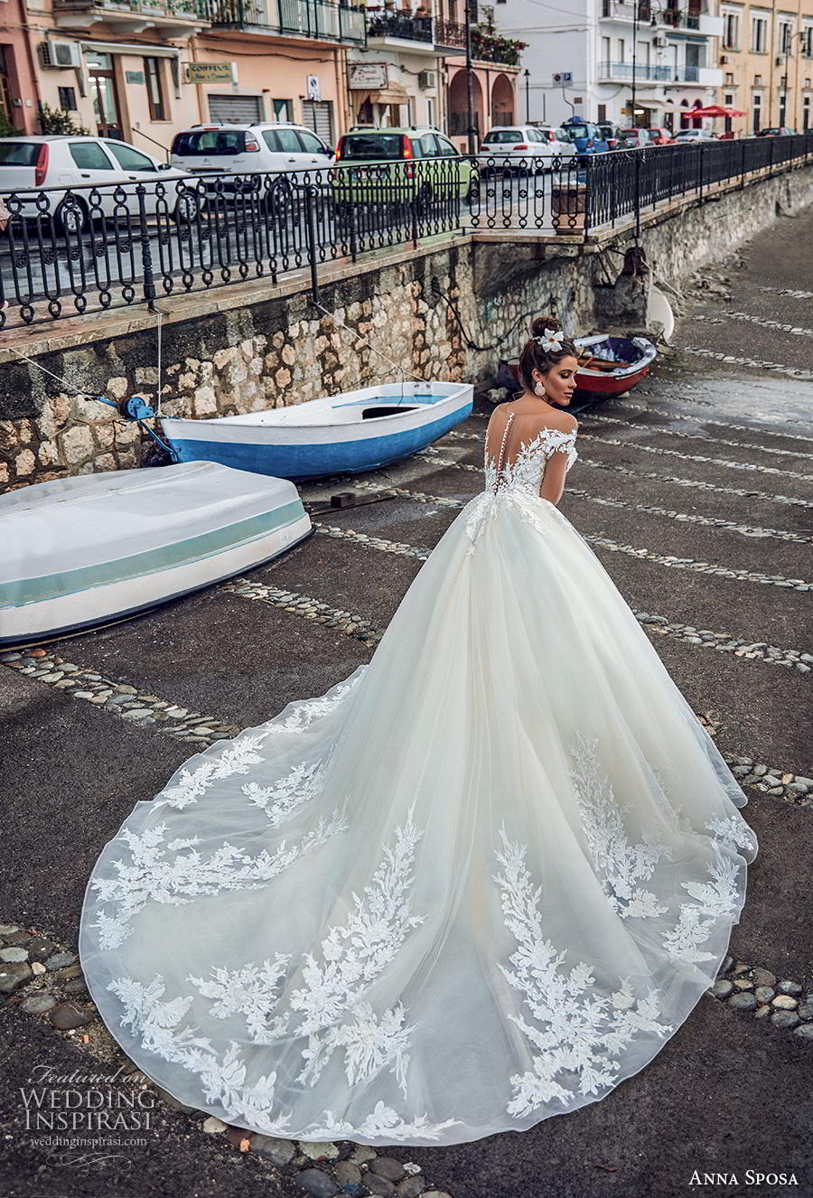 anna sposa 2019 bridal long sheer sleeves illusion bateau deep plunging sweetheart neckline heavily embellished bodice hem princess a  line wedding dress sheer button back royal train (1) bv