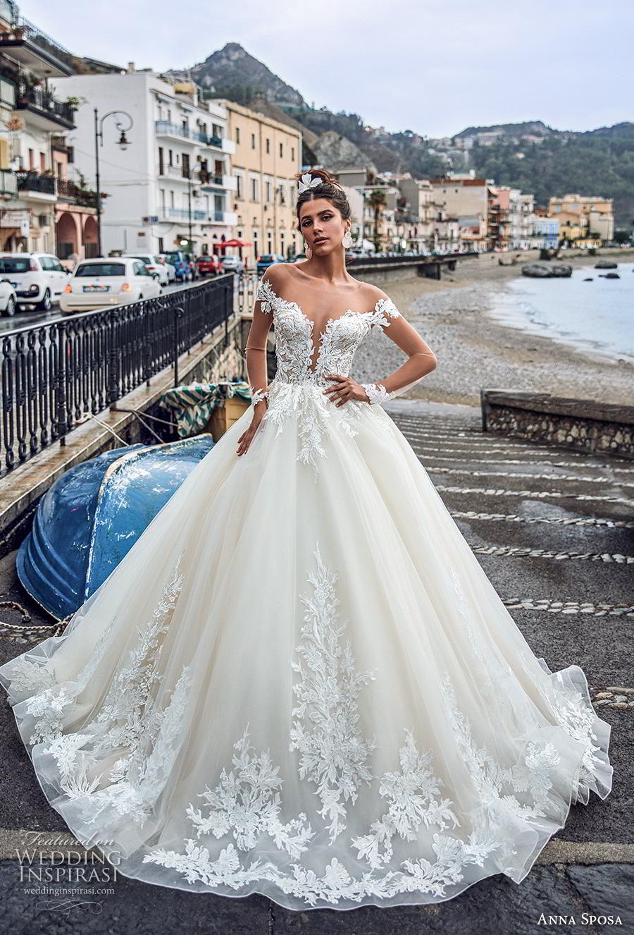 anna sposa 2019 bridal long sheer sleeves illusion bateau deep plunging sweetheart neckline heavily embellished bodice hem princess a  line wedding dress sheer button back royal train (1) mv