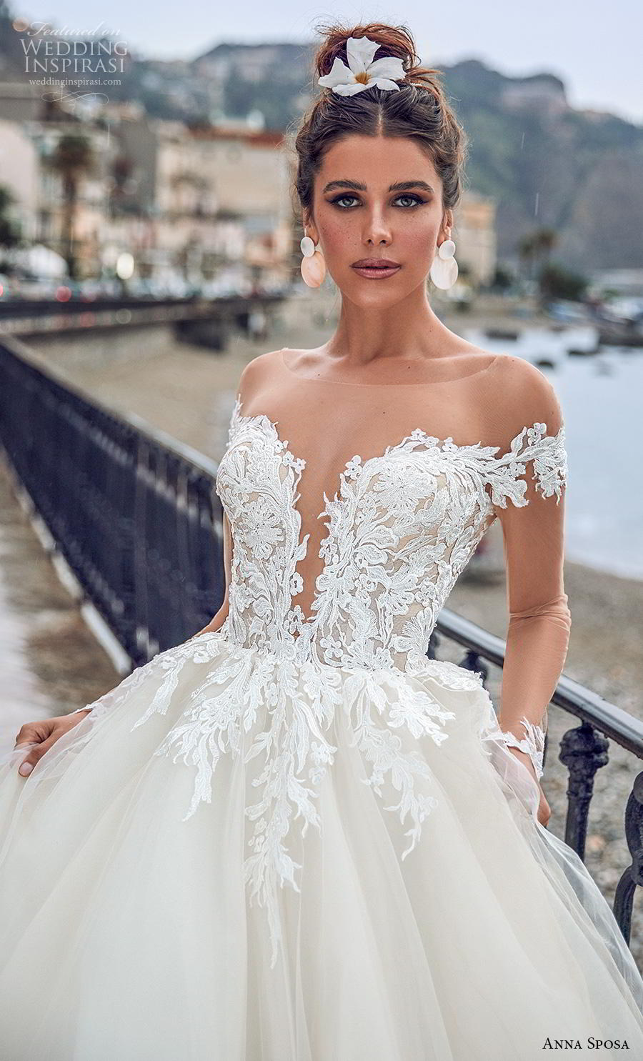 anna sposa 2019 bridal long sheer sleeves illusion bateau deep plunging sweetheart neckline heavily embellished bodice hem princess a  line wedding dress sheer button back royal train (1) zv
