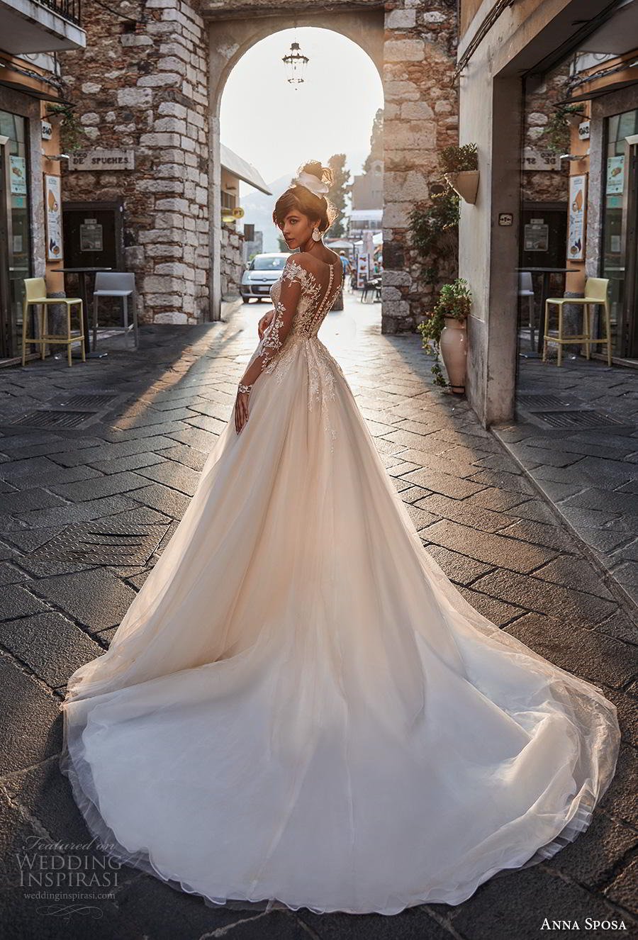 anna sposa 2019 bridal long sheer sleeves sheer boat deep plunging sweetheart neckline heavily embellished bodice ivory a  line wedding dress sheer button back chapel train (3) bv