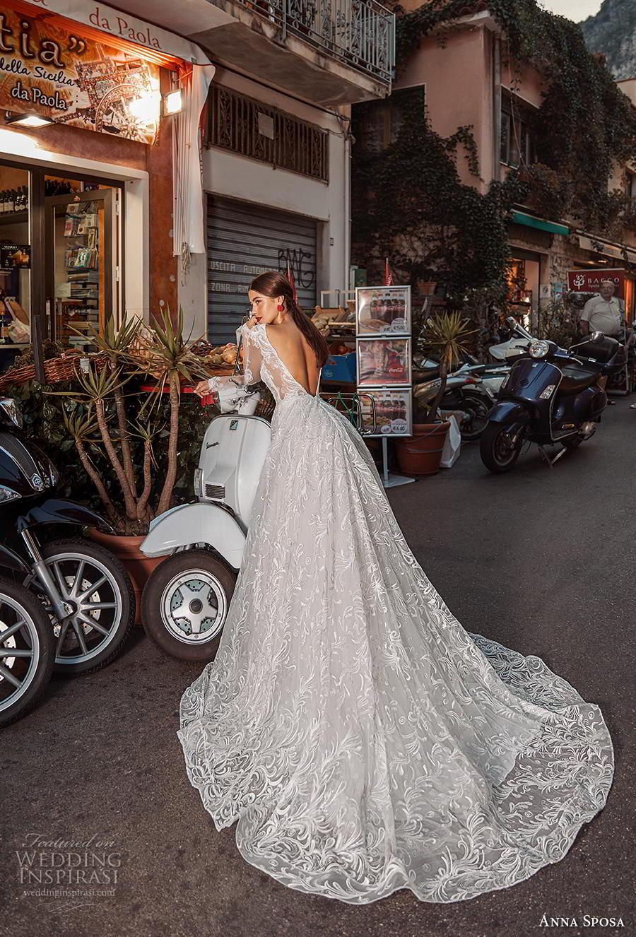 anna sposa 2019 bridal long sleeves deep v neck full embellishment elegant a  line wedding dress low v back chapel train (17) bv