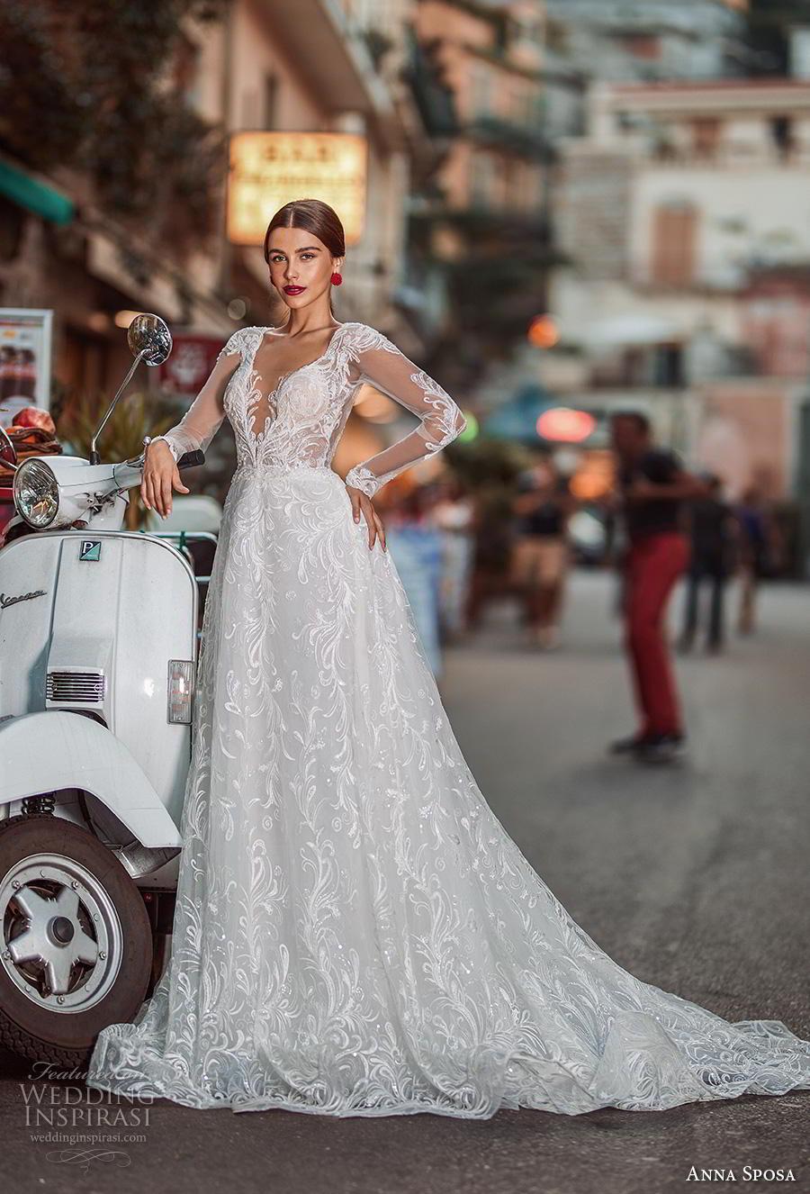 anna sposa 2019 bridal long sleeves deep v neck full embellishment elegant a  line wedding dress low v back chapel train (17) mv