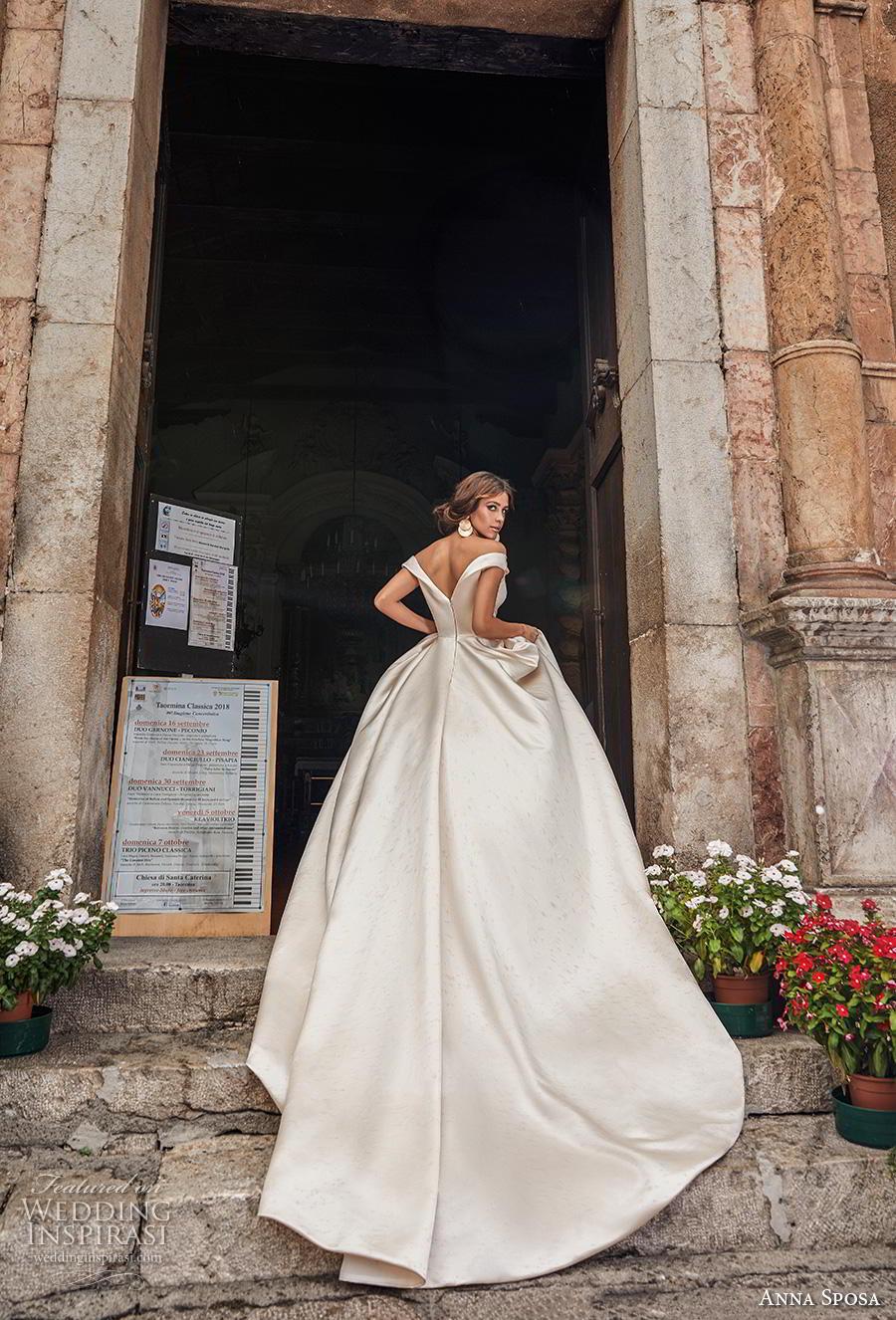 anna sposa 2019 bridal off the shoulder sweetheart neckline simple satin elegant ivory ball gown a  line wedding dress v back royal train (14) bv