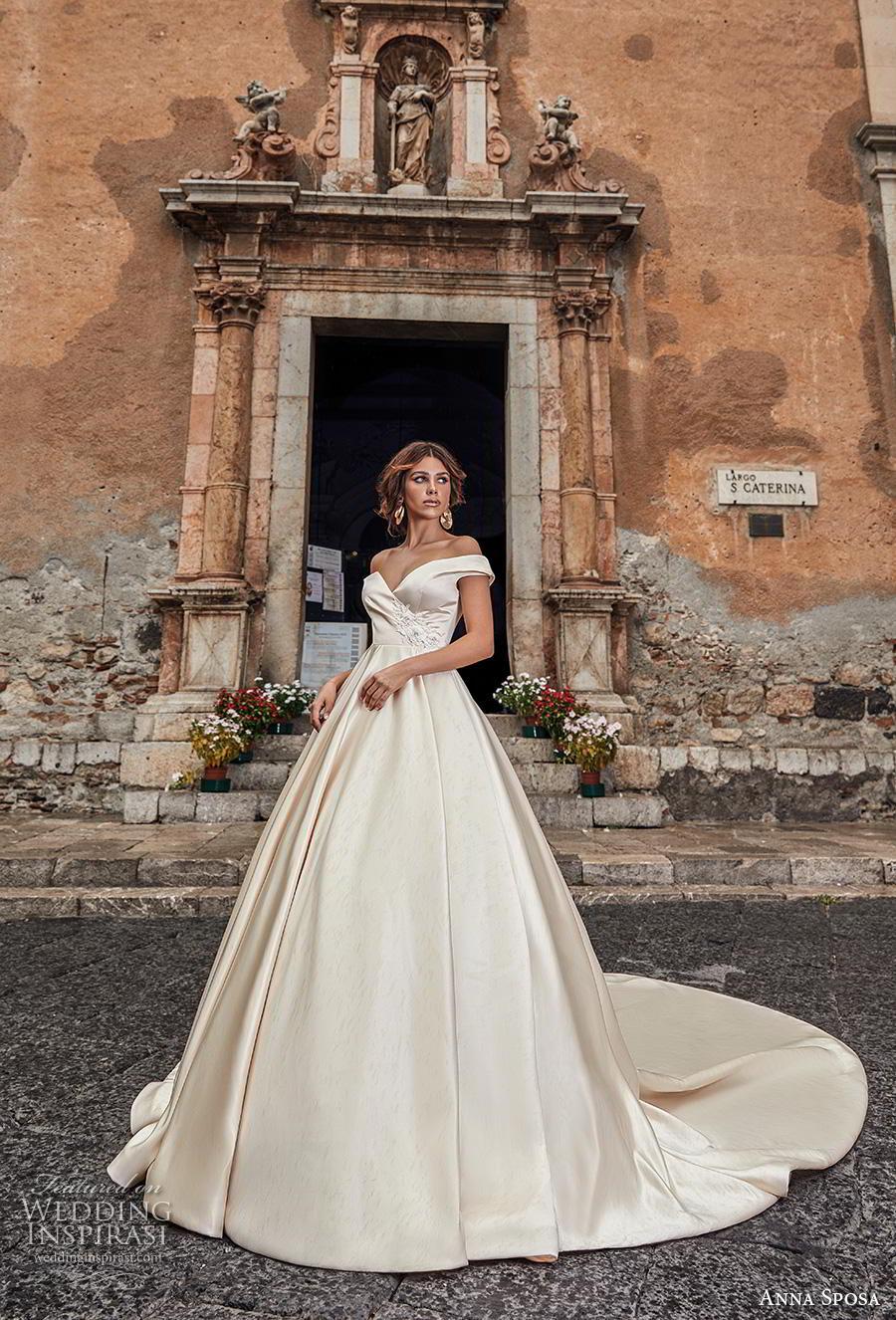 anna sposa 2019 bridal off the shoulder sweetheart neckline simple satin elegant ivory ball gown a  line wedding dress v back royal train (14) mv