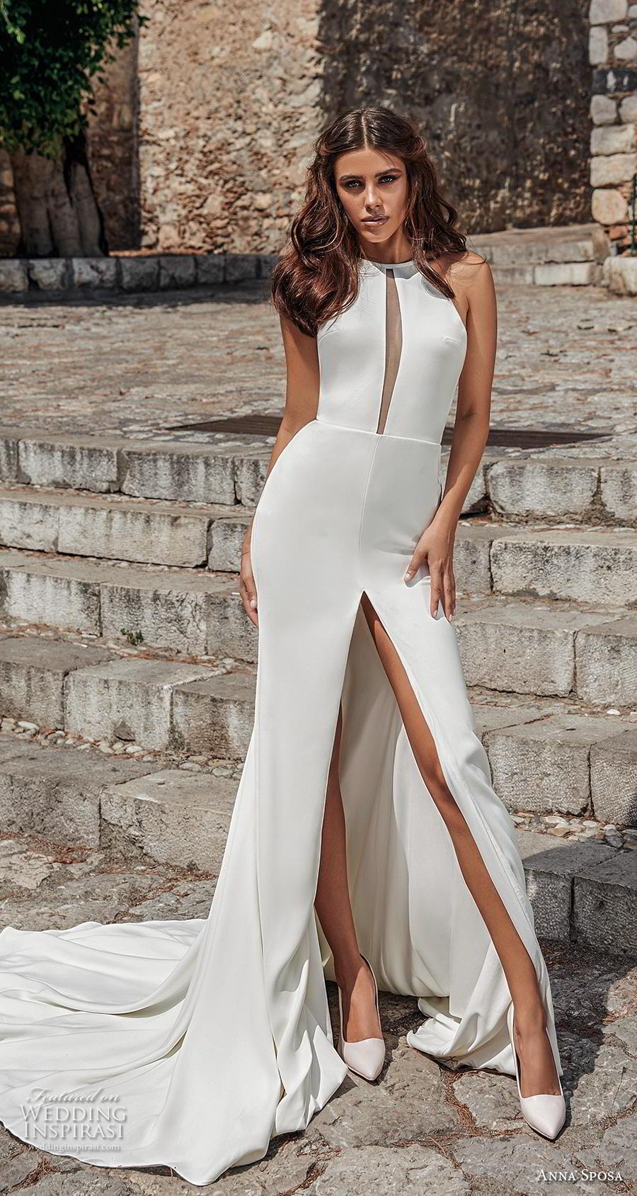 anna sposa 2019 bridal sleeveless halter neck keyhole bodice simple minimalist slit skirt chic sheath modified a  line wedding dress keyhole bodice chapel train (8) mv
