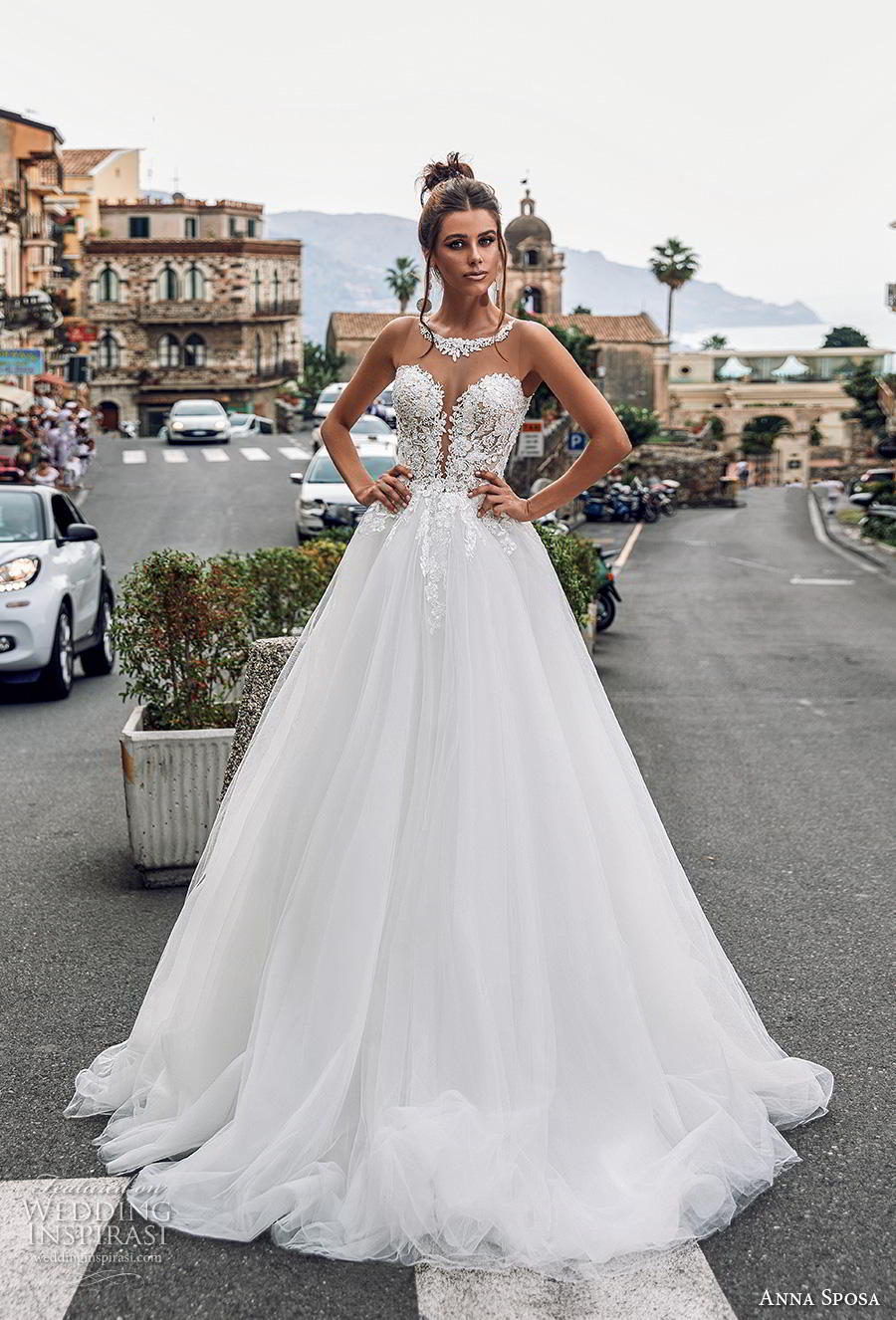 anna sposa 2019 bridal sleeveless illusion jewel plunging sweetheart neckline heavily embellished bodice romantic a  line wedding dress sheer button back chapel train (13) mv