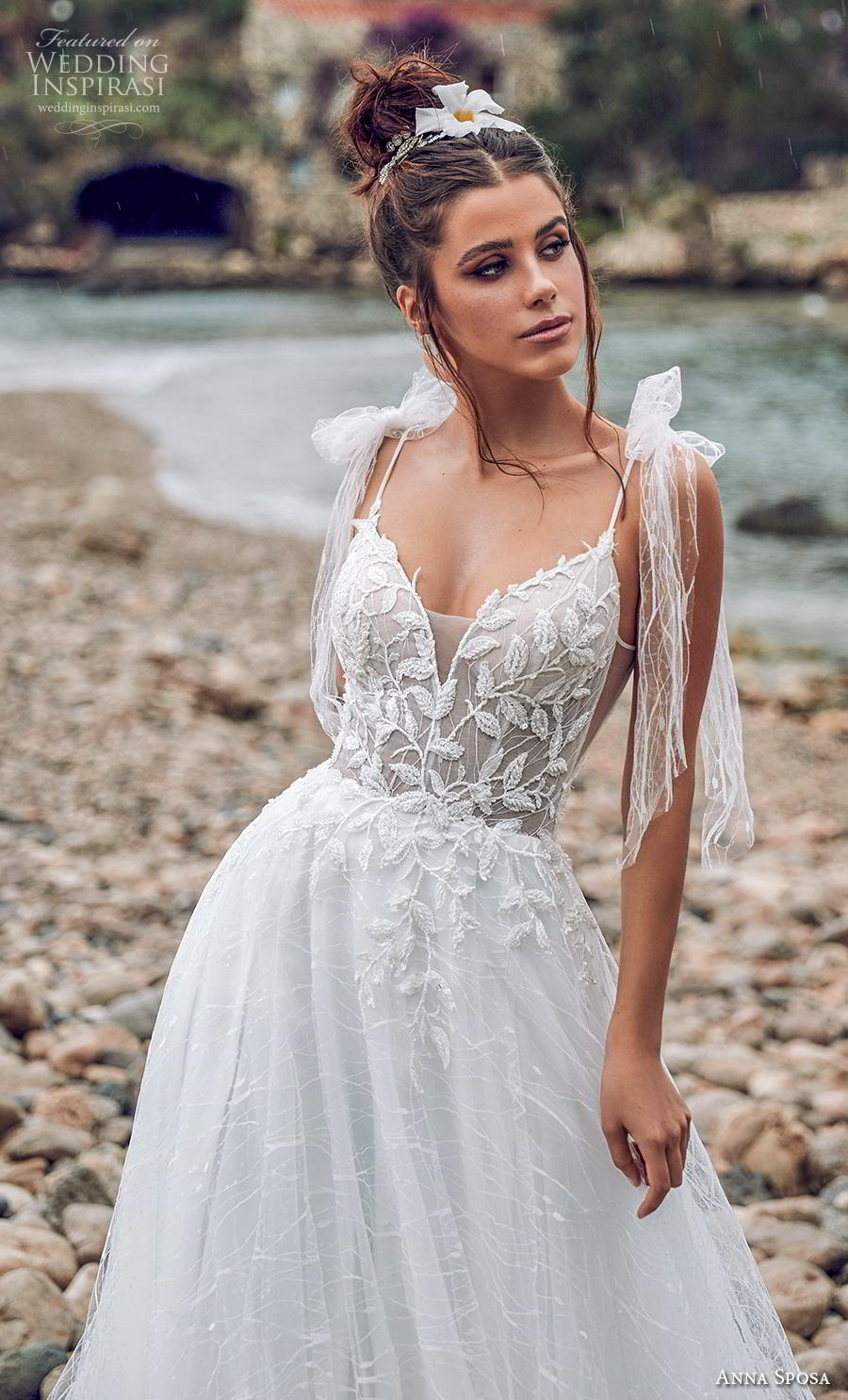 anna sposa 2019 bridal sleeveless spaghetti ribbon strap sweetheart neckline heavily embellished bodice romantic a  line wedding dress backless v back chapel train (2) zv
