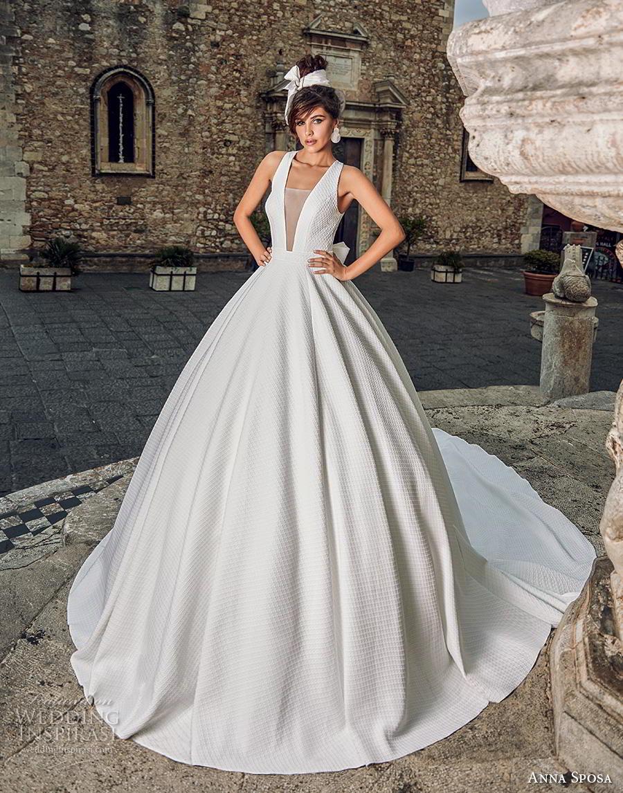 anna sposa 2019 bridal sleeveless v neck light embellishment simple princess ball gown a  line wedding dress keyhole back royal train (4) mv