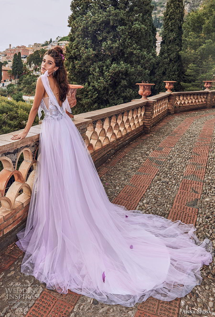 anna sposa 2019 bridal thin ribbon strap sweetheart neckline heavily embellished bodice tulle skirt romantic purple soft a  line wedding dress backless chapel train (7) bv