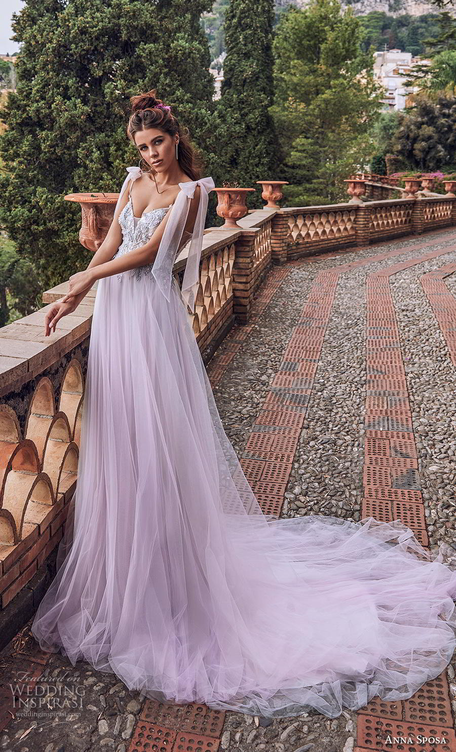 anna sposa 2019 bridal thin ribbon strap sweetheart neckline heavily embellished bodice tulle skirt romantic purple soft a  line wedding dress backless chapel train (7) mv
